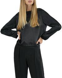 ATM Long Sleeve Silk Blouse - Black