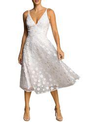 Dress the Population Elisa Beaded Floral Appliqué Midi Dress - White
