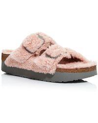 Birkenstock Women's Papillo Arizona Shearling Slide Sandals - Pink