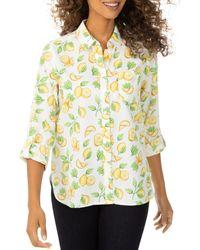 Foxcroft Lemon Print Shirt - Multicolour