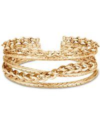 John Hardy 18k Yellow Gold Classic Chain Link Hammered Flex Cuff - Metallic