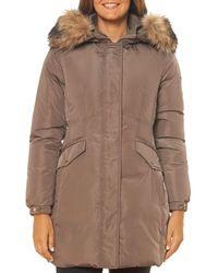Kate Spade Faux Fur Trim Fine Oxford Parka - Brown