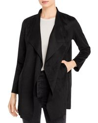 T Tahari Faux - Suede Drape - Front Jacket - Black