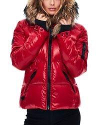 Sam. Blake Fur Trim Down Coat - Red