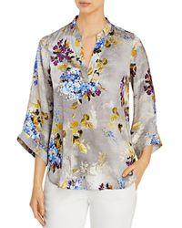 Go> By Go Silk Bella Floral Print Silk Tunic - Blue