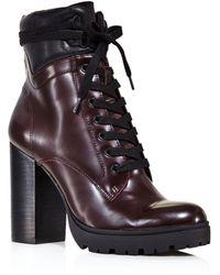 Aqua Women's Laker Stacked Heel Hiker Boots - Black