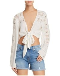 Band Of Gypsies - Crochet-inset Tie-front Top - Lyst