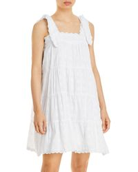 Aqua Lace Trim Tiered Babydoll Dress - White