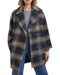 Gerard Darel Samantha Double - Breasted Herringbone Coat - Blue