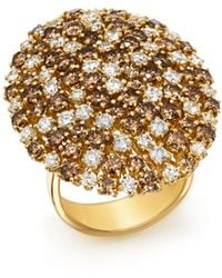 Roberto Coin - 18k Yellow Gold Brown & White Diamond Cluster Ring - Lyst