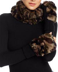 Jocelyn Knit Rabbit Fur Cowl & Rabbit - Fur Trim Fingerless Mittens - Multicolour