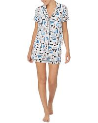 Kate Spade Make Up Print Shorts Pyjama Set - Blue