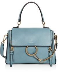 Chloé Faye Small Leather Satchel - Blue