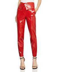 BCBGMAXAZRIA Faux Patent Leather Trousers - Red