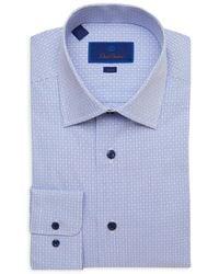 David Donahue Mini Check Trim Fit Dress Shirt - Blue