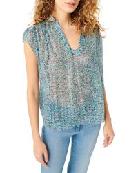 7 For All Mankind Floral Semi Sheer Silk Top - Blue