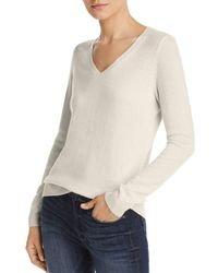 C By Bloomingdale's V - Neck Cashmere Sweater - White