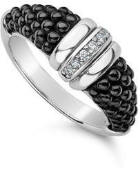 Lagos - Sterling Silver Black Caviar Diamond & Black Ceramic Stacking Ring - Lyst