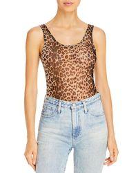 Aqua Mesh Leopard Print Bodysuit - Multicolour