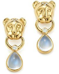 Temple St. Clair | 18k Yellow Gold Lion Cub Diamond And Royal Blue Moonstone Drop Earrings | Lyst
