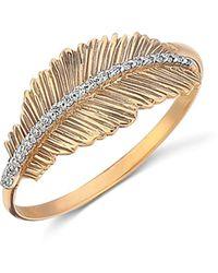 Kismet by Milka 14k Rose Gold Diamond Feather Ring - Metallic