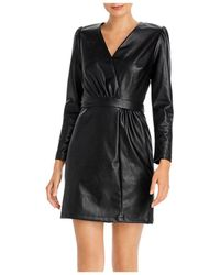 Lucy Paris Puff - Sleeve Faux Leather Dress - Black