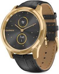 Garmin Vivomove Luxe Leather Strap Touchscreen Hybrid Smartwatch - Black