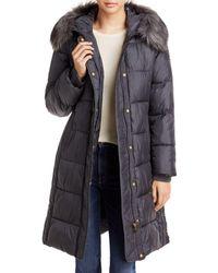 Via Spiga Faux Fur Trim Hooded Puffer Coat - Grey