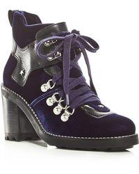Isa Tapia - Women's Sage Velvet High Block Heel Booties - Lyst