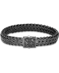 John Hardy Men's Blackened Sterling Silver Classic Chain Large Flat Link Bracelet With Black Sapphire - Metallic