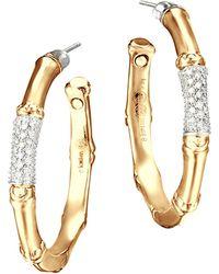 John Hardy - Bamboo 18k Gold And Diamond Pavé Medium Hoop Earrings - Lyst
