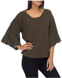 B Collection By Bobeau - Elisa Embroidered-sleeve Blouse - Lyst