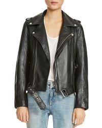 Maje - Bocelix Belted Leather Motorcycle Jacket - Lyst