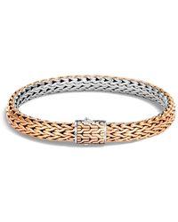 John Hardy Sterling Silver & Bronze Classic Chain Reversible Flat Chain Bracelet - Metallic