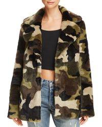 Aqua - Camo Faux Fur Jacket - Lyst