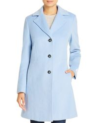 Calvin Klein Single - Breasted Button Front Coat - Blue