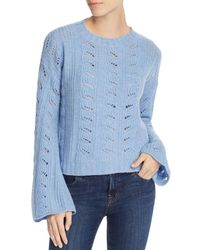 Aqua Cashmere Bell - Sleeve Pointelle Cashmere Sweater - Blue