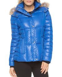 Marc New York - Aubrey Fur Trim Short Puffer Coat - Lyst
