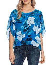 Vince Camuto Watercolor Melody Floral Blouse - Blue