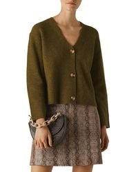 Whistles V-neck Chunky Ribbed Wool Blend Cardigan - Green