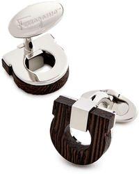 Ferragamo Gancini Wood & Brass Cufflinks - Brown