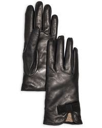 Bloomingdale's Bow Leather & Cashmere Gloves - Black