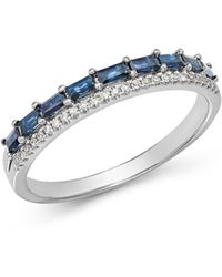 KC Designs - 14k White Gold Mosaic Sapphire & Diamond Stacking Ring - Lyst