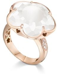 Pasquale Bruni - 18k Rose Gold Floral Milky Quartz Ring With Diamonds - Lyst