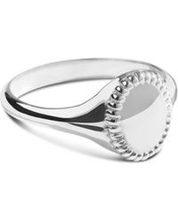 Shinola Sterling Silver Coin Edge Petite Signet Ring - Metallic