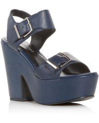 Kenneth Cole - Women's Shayla Leather Platform Wedge Sandals - Lyst