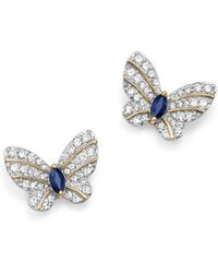 Bloomingdale's Diamond And Blue Sapphire Butterfly Stud Earrings In 14k Yellow Gold - Metallic