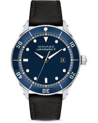 Movado Heritage Series Calendoplan Leather Strap Watch - Multicolor