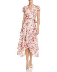 Betsey Johnson Rose Print Wrap Dress - Pink