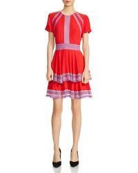 Maje - Raglia Tiered Lace-inset Dress - Lyst